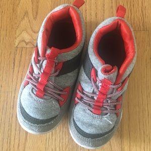 EUC Carter's Gray/Red/Brown Slip On Sneakers Sz 10